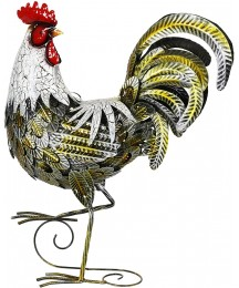 """Exhart Metal Rooster Statue – Metal Rooster White & Gold Statue w/Protective Lacquer Coating, 23"""" Hand-Painted Sculpted Figure, Garden Art Decor, Free-Stand Metal Statue, Farmhouse Decorations"""