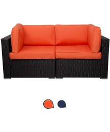 EXCITED WORK Wicker Loveseats Patio Sectional Furniture Corner Sofa All Weather Outdoor Rattan Couch Set Conversation Sets(Orange)