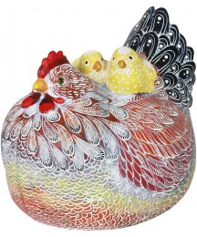 Exhart Mother Hen w/Two Chicks Garden Statue – Cute Garden Art Sculpture Rooster Décor for Patio – Hand Painted & UV-Treated Resin Chicken Statue for Home or Garden Décor, 10