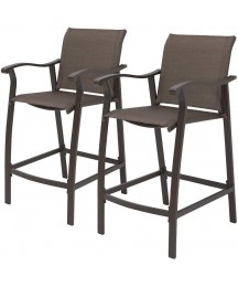 Crestlive Products Outdoor Counter Height Bar Stools Classic Patio Bar Chairs with Heavy Duty Aluminum Frame in Antique Brown Finish, 2 PCS Set (Brown)