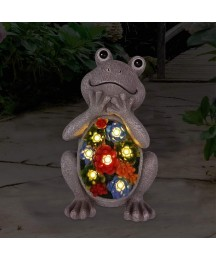 Frog Solar Garden Decor Statues Figurine with Succulent and 7 LED Lights,for Garden Decor Lawn Indoor Outdoor Garden(6.5x11 Inch)