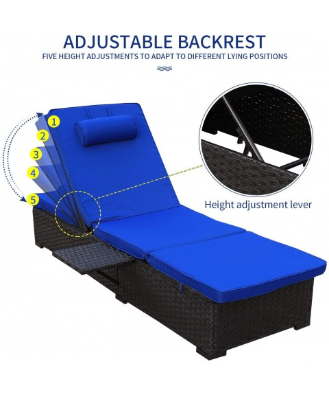 Outdoor PE Wicker Chaise Lounge - 2 Piece Patio Black Rattan Reclining Chair Furniture Set Beach Pool Adjustable Backrest Recliners with Royal Blue Cushions