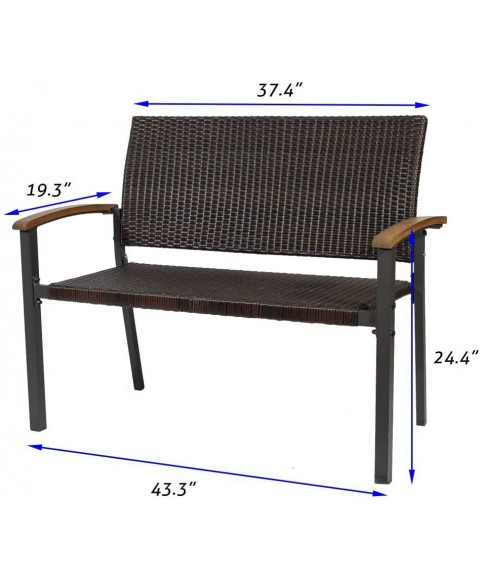 2-Person Patio Wicker Bench Outdoor Seating Loveseat Chair, Modern Garden Bench Clearance with Wooden Handrail for Garden, Lawn, Backyard, Balcony, Deck, Poolside, Porch