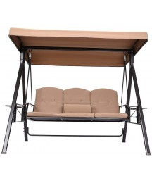 3-Seat Deluxe Outdoor Patio Porch Swing with Weather Resistant Steel Frame US Adjustable Tilt Canopy Cushions and Pillow Included (Beige)