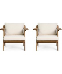Christopher Knight Home Arcola Outdoor Club Chair with Cushion - Acacia Wood - Teak/Beige (Set of 2)