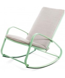 CUIS- Outdoor Patio Rocking Chair Padded Steel Rocker Chair Support 300lbs, Swing Rocking Chair Glider with Aluminum Frame, Indoor Bedroom/Outside Style (Color : Green)