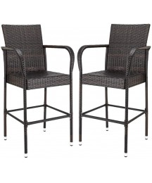 Aike Home Patio Bar Stools Set of 2 Wicker Barstools Bar Chairs Indoor Outdoor Bar Stool Patio Seating Furniture with Footrest and Armrest for Garden Pool Lawn Backyard (Brown)