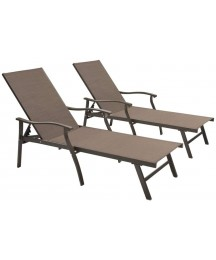 Crestlive Products Aluminum Adjustable Chaise Lounge Chair Five-Position and Full Flat Outdoor Recliner All Weather for Patio, Beach, Yard, Pool (2PCS Brown)