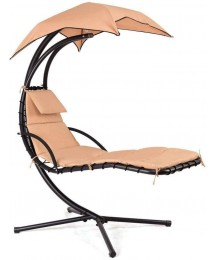 eZone Outdoor Hanging Hammock Chair Lounge Swing, Curved Chaise Lounge Chair Swing for Backyard, Patio and More (Khaki)