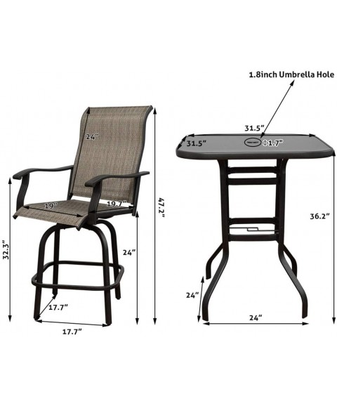 2 PC Swivel Bar Outdoor Stools Bar, Height Swivel Patio Chairs, All-Weather Patio Furniture Tall Chair Terrace Bar with 360-degree Rotating Padded Sling Fabric(2PC)