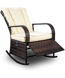 Auto Adjustable Patio PE Rattan Wicker Rocking Chair Patio Sofa Relaxing Lounge Chair Outdoor Furniture, Brown