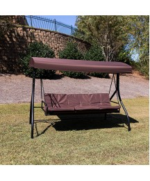 EMMA + OLIVER 3-Seat Outdoor Steel Converting Patio Swing and Bed Canopy Hammock in Brown