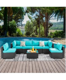 Walsunny 7pcs Patio Outdoor Furniture Sets,Low Back All-Weather Rattan Sectional Sofa with Tea Table&Washable Couch Cushions (Black Rattan)(Blue)