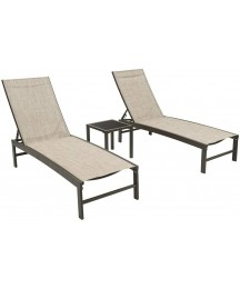 Crestlive Products Aluminum Adjustable Chaise Lounge Chair and Table Set Outdoor Five-Position Recliner, Curved Design, All Weather for Patio, Beach, Yard, Pool (Beige)