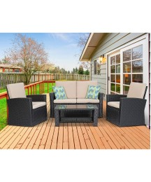 4 Piece Outdoor Patio Furniture Sets, Black Wicker Sectional Sofa Chair with Glass Coffee Table for Backyard, Porch, Garden and Poolside, Conversation Set with Beige Cushion and 2 Free Pillows