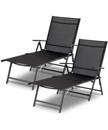Esright Outdoor Chaise Lounge Chair, Set of 2 Folding Textiline Reclining Lounge Chair for Beach Yard Pool Patio with 7 Back & 2 Leg Adjustable Positions (Set of 2,Black)