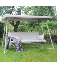 3-Seater Outdoor Convertible Canopy Swing Chair Bench Bed with Comfortable Cushion Seats for Patio Porch Garden