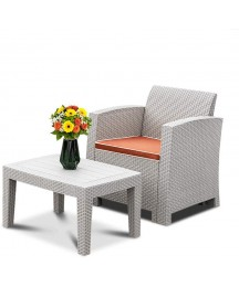 Bonnlo 2 Piece Outdoor Furniture Set, Wicker Patio Furniture Set, Rattan Conversation Sofa Set with Seat Cushion for Outdoor Indoor Use Simple Assembly (Grey)