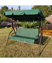 3 Seat Porch Swing Soft Cushioned Sunlight Protection Polyester Fabric Bench Swing Glider UV Backrest Green