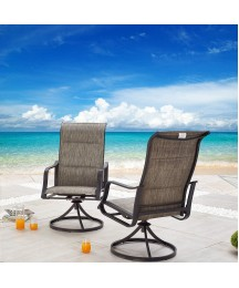 Festival Depot 2 PC Bar Bistro Outdoor Patio Dining 360°Swivel Chairs Furniture Armrest Chairs for Deck Garden Pool (Grey)