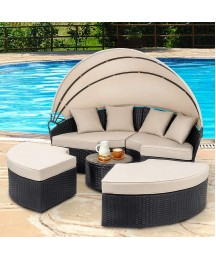 Walsunny Patio Furniture Outdoor Lawn Backyard Poolside Garden Round Daybed with Retractable Canopy Wicker Rattan, Seating Separates Cushioned Seats