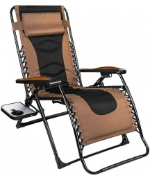 Zero Gravity Chair, Oversized 22.8'' W Padded Seat & Free Reclining Angle with Lock, Lounge Patio Chair with Contour Pillow and Side Cup Table, Folding Recliner, Support up to 350lbs (Brown)
