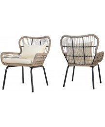 Christopher Knight Home Karen Outdoor Club Chairs, Steel and Rope, Water-Resistant Cushions, Boho, Brown and Beige (Set of 2)