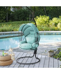 Barton Deluxe Outdoor Hanging Chair Lounge Seating with Deep Cushion Chair UV Resistant Canopy Sun Shade, Aqua