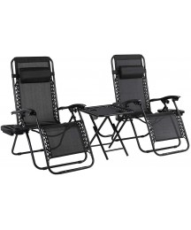 3Pcs Zero Gravity Chair Set, Adjustable Folding Patio Lounge Recliner & Table, w/Pillows & Cup Holder Trays, for in/Outdoor, Poolside, Yard, Garden, Lawn, Beach, Camping, Deck, 310 LBS Capacity