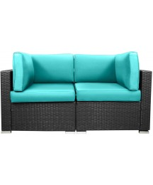 EXCITED WORK Loveseats Patio Sectional Corner Sofa All Weather Wicker Rattan Outdoor Thick Couch Set (Tiffany Blue)