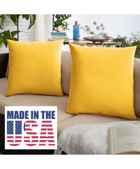 1101Design Sunbrella Sunflower Yellow Knife Edge Decorative Indoor/Outdoor Square Throw Pillows, Perfect for Patio Décor - Sunflower Yellow 16