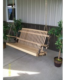 A & L Furniture Hickory Porch Swing (Chains Included), Natural Finish Stain