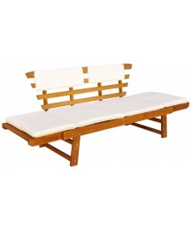 Garden Bench with Cushions 2-in-1 | Outdoor Patio Sun Bed | Park Bench | Wooden Yard Seating Bench for Deck, Patio, Garden, Backyard, Balcony | Brown Solid Acacia Wood 61