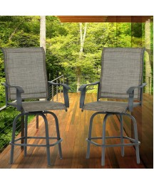 Aoxun 2 Piece Swivel Bar Stools Textilene High Bistro Chairs, All-Weather Patio Furniture, Brown