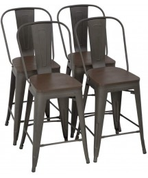 FDW Metal Bar Stool Set of 4 Counter Height Barstool with Back 24 Inches Wood Seat Height Industrial Bar Chairs Patio Stool Stackable Modern Kitchen Stool Indoor Outdoor Kitchen Stools (Bronze)