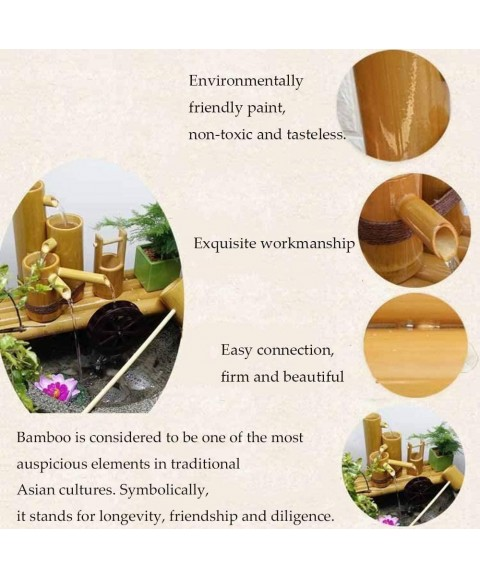 XYSQWZ Bamboo Water Fountain Outdoor Garden Feature Landscape Japanese Decoration Sculptures Statues Home Arts Crafts for Pond Fish Tank Courtyard