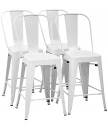 FDW 24 Inches Metal Bar Stool Set of 4 Counter Height Barstool with Back Seat Height Industrial Bar Chairs Patio Stool Stackable Modern Kitchen Stool Indoor Outdoor Metal Bar Stool Kitchen Stools