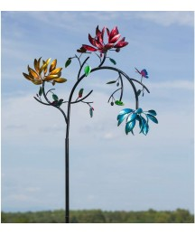 Evergreen Garden Beautiful Summer Multi Colored Flowers Wind Spinner - 12 x 91 x 41 Inches Fade and Weather Resistant Outdoor Decoration for Homes, Yards and Gardens