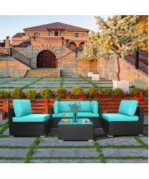 Excited Work 5pcs Patio Outdoor Furniture Sets,All-Weather PE Rattan Wicker Sectional Sofa with Washable Couch Cushions & Coffee Table (Tiffany Blue)