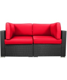 EXCITED WORK Loveseats Patio Sectional Corner Sofa All Weather Wicker Rattan Outdoor Thick Couch Set (Red)