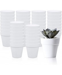 3.5 Inches / 48 pcs Plastic Plant Pots, Gardening Containers, Planters, Perfect for Indoor and Outdoor Decoration, Garden, Kitchen, Flower, Succulents (White)