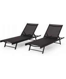 Christopher Knight Home Martin Outdoor Aluminum Chaise Lounge with Mesh Seating (Set of 2), Black and Dark Gray