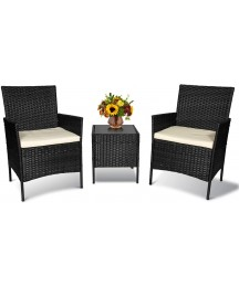 3 Pieces Patio Furniture Sets Outdoor Furniture Balcony Patio Set,Conversation Sets with Cushion,Rattan Wicker Chair with Coffee Table for Backyard Lawn Porch Garden Poolside Balcony (Black-Beige)