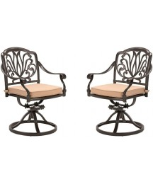 CW Chair Patio Swivel Dining Chairs Cast Aluminum High Back Outdoor Rocker with Cushion, Weather Resistant Metal Furniture Set for Lawn Garden Backyard, Set of 2, Dark Brown