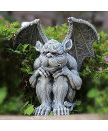 Garden Ornaments Outdoor Large Winged Grey Dragon Resin Mythical Monster Animal Ornament Figurine Garden Statue Luck Gargoyle Sculpture for Patio (Color : A)