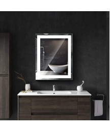 Bright LED Bathroom Mirror, Modern Sleek Rectangle Wall Mounted LED Mirror, LED Illuminated Frameless Dimmable Vanity Mirror with Lights, 30