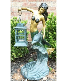 Ebros Gift Outdoor Lawn Garden Patio Nautical Coral Mermaid with Dolphin Holding Candle Lantern Statue Candleholder Lawn Ornament Fantasy Decor Figurine