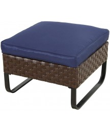 Festival Depot Dining Outdoor Patio Bistro Furniture Ottoman Footstool with Premium Fabric Soft Cushion Wicker Rattan Square with U Shaped Slatted Steel Legs Foot Rest for Garden Yard Lawn All-Weather