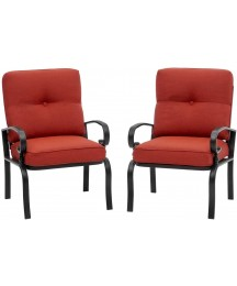 Crownland 2-Pack Patio Furniture Bistro Iron-Frame Dining Chairs, Thicken Cushion, Supports 300 lbs, Weather -Proof Garden Metal Seating Chair, Elegant for Outdoor & Indoor (Red)