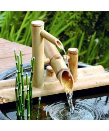 LYCIL Japanese Style Courtyard Water Feature,Bamboo Flowing Water Landscape Zen Garden Sculptures Statues Ornaments for Pond Patio Balcony A 50cm(20inch)